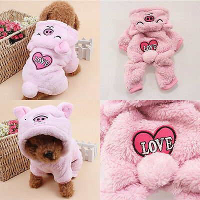 Cute Pet Dog Puppy Warm Clothing Pig Hoodie Coral Fleece Jacket Apparel Jumpsuit