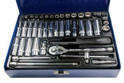 "Bergen 42pc 1/4""Dr Socket Wrench Set Metric AF MM Imperial Metric B1001"