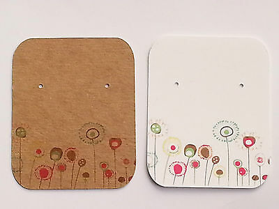 10/50/100  Earring Display Cards Jewellery Studs - Kraft Brown/White Flower1