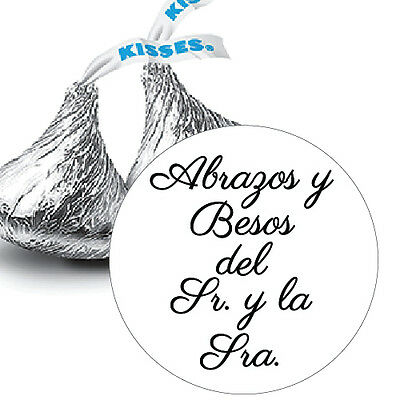 108 Abrazos y Besos del Sr. y la Sra. Hershey Kiss Wedding Stickers Favors