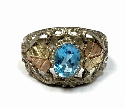 Beautiful Sterling Silver & Yellow Rose Gold Leaf Ring Sz 6 Cco Blue Topaz
