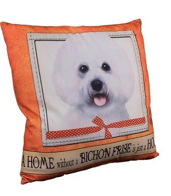 Bichon Frise Throw Pillow A Home Without is Just a House Dog New White Orange
