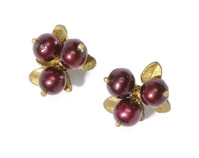 Cranberry 3 Stone Clip Earrings by Michael Michaud - Silver Seasons #4407