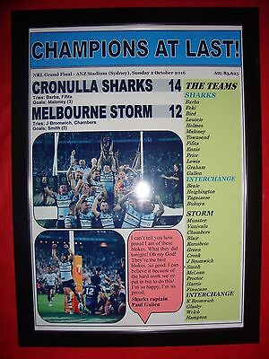 Cronulla Sharks 14 Melbourne Storm 12 - 2016 NRL Grand Final - framed print