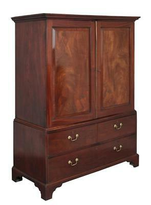 18Th Century Georgian Mahogany Linen Press Cupboard