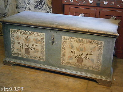 Rare 1784 Decorated Blanket Chest Christian Seltzer Dowers Chest Pennsylvania