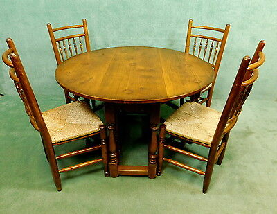 Set Of Four Oak Country Chairs And Matching Gate Leg Drop Leaf Table