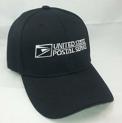 USPS Embroidered Baseball Hat Black w/White Embroidery / USPS LOGO 2 Cap