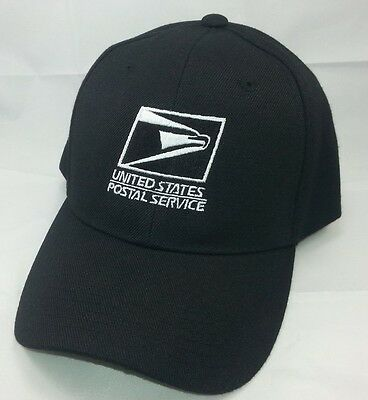 USPS Embroidered Baseball Hat Black w/White Embroidery / USPS LOGO 1 Cap
