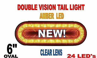 "24 Led 6"" Oval ""Mirage"" Turn Signal Light- Amber/Clear Lens"