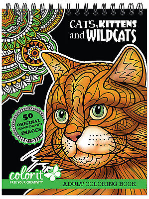 ColorIt - Cats Kittens Adult Coloring Book Art Therapy SPIRAL-BOUND HARDBACK NEW