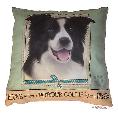 Border Collie Throw Pillow A Home Without is Just a House Dog New Soft Green