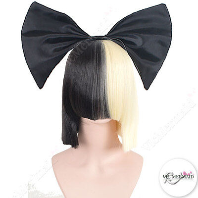 Ladies Wigs Short Blonde N Black Straight w/ Black Bow Sia Cosplay Costume Party