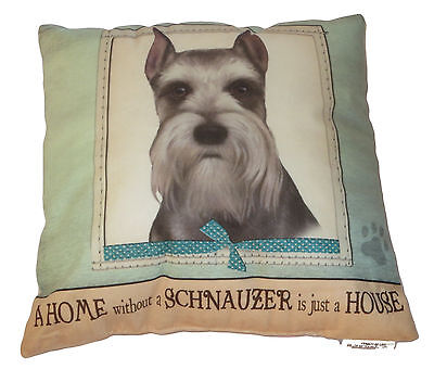 Schnauzer Throw Pillow A Home Without is Just a House Dog Paw Print Gray Soft