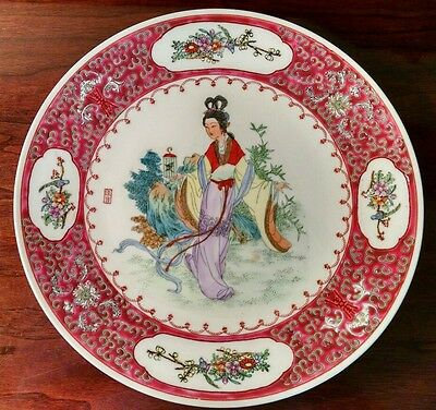 Large Painted Chinese Cherry Blossom Export Plate Woman Bird Cage Flower Gardens