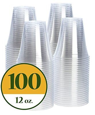 NEW Plastic Cups CRYSTAL CLEAR PET [100 pack] 12 oz squat FREE SHIPPING