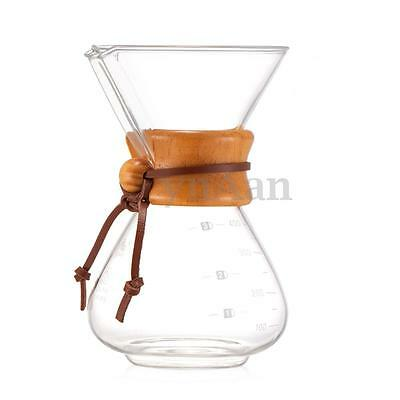 400ml Diguo Pour Over Glass Coffee Maker Filter Drip Pot Cup With Wood Collar