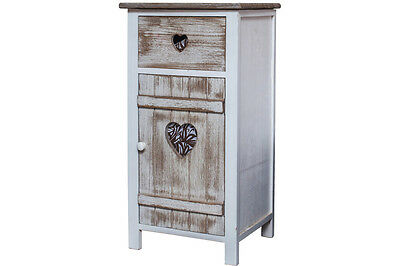 Vintage Rustic Wooden Bedside Table Bathroom Cabinet Cupboard Shabby Chic Style