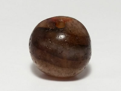 12.8mm ANCIENT RARE WESTERN ASIAN BANDED AGATE EYE BEAD