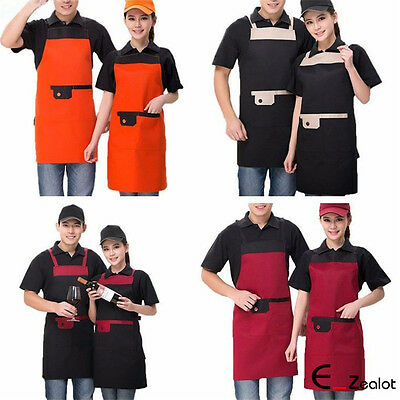 1pc Long Adjustable Apron Bib Uniform With 2 Pockets Chef Waiter Cooking Aprons