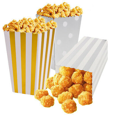 12 Popcorn Chevron/Striped/Dot Style Boxes Wedding Favour Party Paper Loot Bags