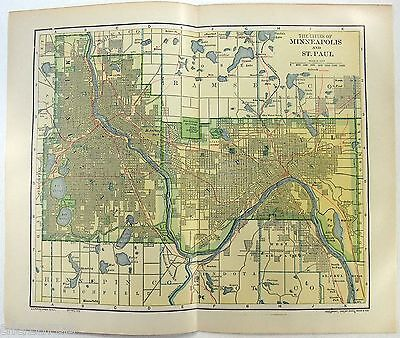 Original 1910 Map of Minneapolis & St. Paul by Dodd Mead & Company