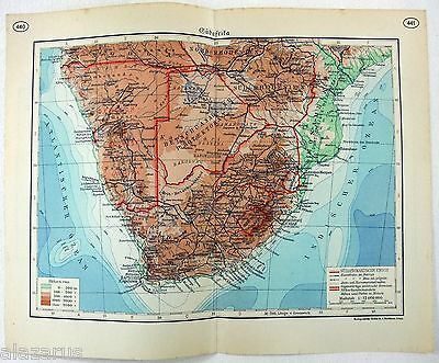Original German Language Map of Southern Africa in 1937 by F. A. Brockhaus
