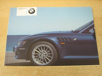 BMW Z3 CONVERTIBLE & Z3 COUPE HANDBOOK- OWNERS MANUAL - OWNERS 2002-2006 genuine