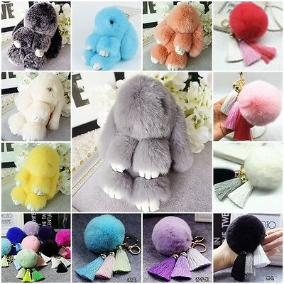 XMAS GIFT Cute Rabbit Fur Ball Pom Pom Phone Mobile Car Pendant Bag Key Ring