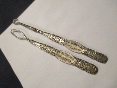 Victorian Coat Boot Shoe Button Hooks Silver Plate Th Menhennick Ingersoll Shoes