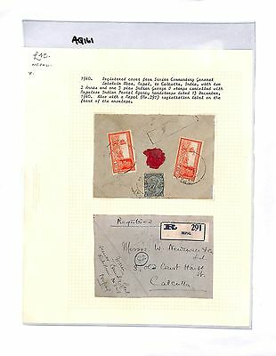 AQ161 1940 Indian PO in NEPAL to India Calcutta Registered Cover