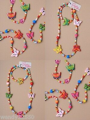 Pack Of 6 Wooden Bead & Butterfly Stretch Necklace & Bracelet Sets : Sp-3543 Pk6