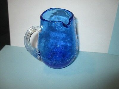 Left Handed Creamer Jug Blue Crackle Art Glass Victorian Style Threaded Handle