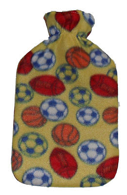 2 x Hot Water Bottle with Soft Yellow Fleece Cover & Sport Balls Design 2L NEW