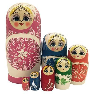 Wooden Russian Hand Painted Stacking Doll Matryoshka Nesting Dolls Toy 7pcs
