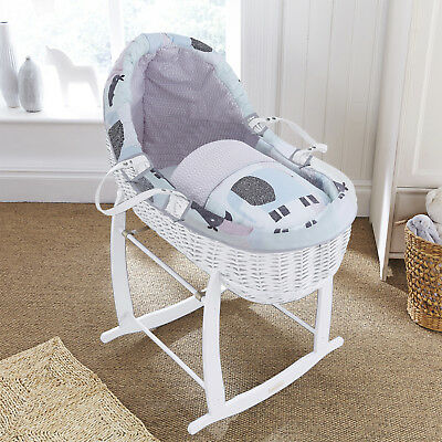 New Clair De Lune Stanley & Pip White Wicker Willow Bassinet Baby Moses Basket