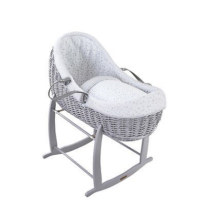 Clair De Lune Grey Stars & Stripes Grey Wicker Willow Bassinet Baby Moses Basket