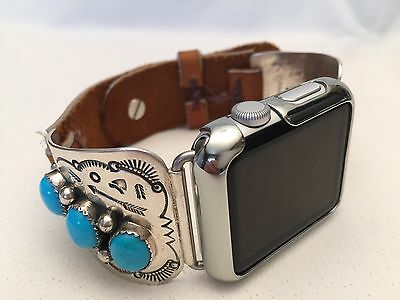 Native American Silver and Sleeping Beauty Turquoise band for Apple WATCH