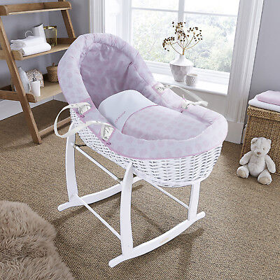 New Clair De Lune Pink Speckles White Wicker Willow Bassinet Baby Moses Basket