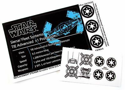 CUSTOM STICKERS for STAR WARS Lego 8017 10175 75082 VADER's TIE ADVANCE FIGHTER
