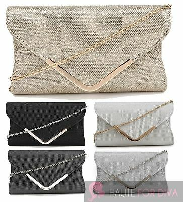 Women'S New Shimmer Silver Gold Trim Chain Strap Envelope Evening Clutch Bag