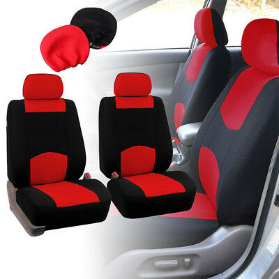 4Pcs Universal Car Fabric Front Seat Covers Full Set Head Rest For SUV Truck Van