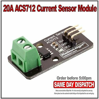 20A ACS712 Hall Current Sensor Module for Raspberry Pi Arduino. RobotDyn