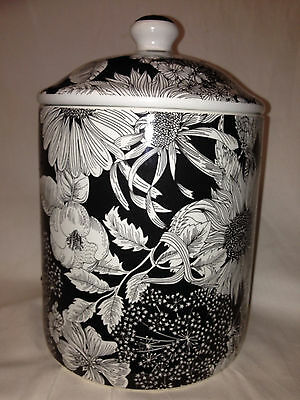 "Target Liberty Of London Canister 8 1/2"" White & Black Floral"