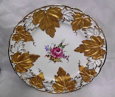 """Von Schierholz Porcelain Plate with Gold Leaves and Center Floral Bouquet - 11"""""""