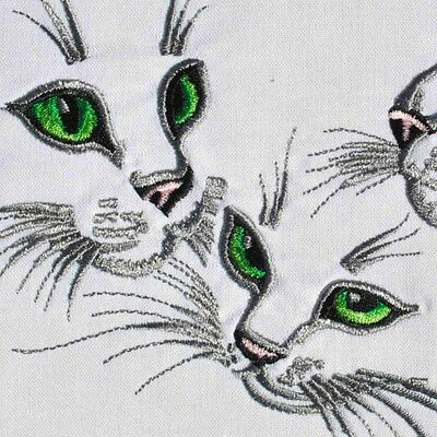 Embroidered Quilt Block Panel KITTEN CAT TRIO 100% Cotton White Fabric Makower