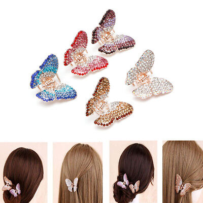 Fashion Women Girl Butterfly Claw Crystal Rhinestone Hair Clip Clamp Hairpin Jaw