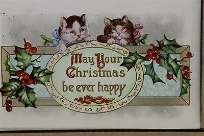 "ANTIQUE 1910's CHRISTMAS POSTCARD ""Pair Of Kittens Greeting"" Posted"
