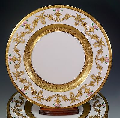 12 Hutschenreuther China Gold Encrusted Hand Painted Roses Cabinet Plate Plates