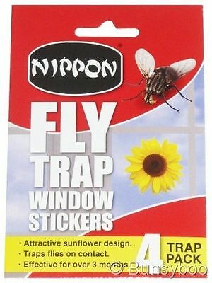 NIPPON Fly & Flying Insect Trap Window Stickers Pesticide Free Sunflower =4 Pack